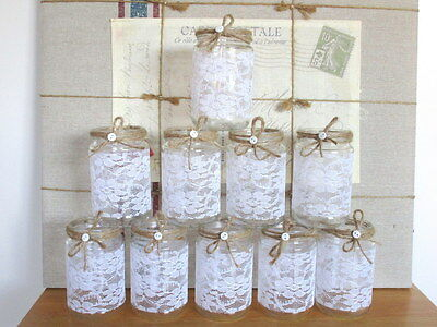 10 Centre Pieces Glass Jars Vases Shabby Chic Wedding Lace Christening