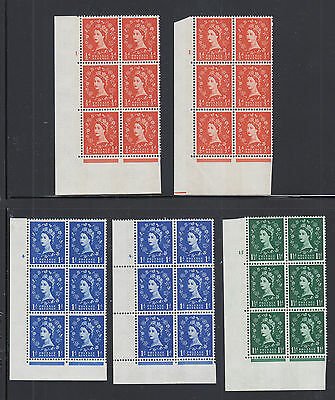 Great Britain SG 610-612 MNH. 1962-65 Wilding Cylinder Blocks of 6, 5 different