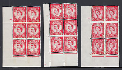 Great Britain SG 614, 614a MNH. 1961 2½p Wilding Cylinder Blocks of 6, 3 diff.