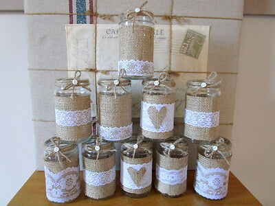 10 Vintage Glass Jars Vases Centre Pieces Shabby Chic Rustic Wedding Lace Rustic