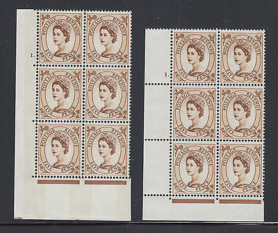 Great Britain SG 616c MNH. 1967 5p brown Wilding Cylinder Blocks of 6, 2 diff.