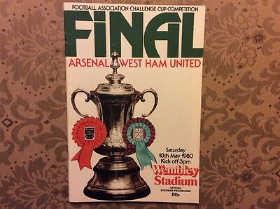 Signed x8 FA Cup Final programme 1980 West Ham Arsenal
