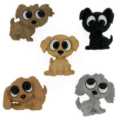 5 Cute Playful Puppy Dog Dress It Up Novelty Craft Buttons Embellishments