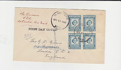 Newfoundland St.johns 1947 First Day Cover Block Of Four