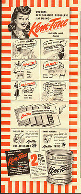 1940's Vintage ad for Kem-Tone`miracle wall finish`paint  (010514)