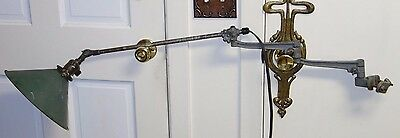 Unique O.C. White 2 Iron Arms Articulated Machinist Industrial Light Nice Shade