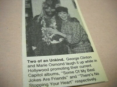 MARIE OSMOND and GEORGE CLINTON laughing it up Original music biz promo pic/text