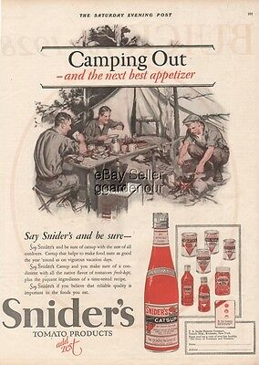 1927 Snider's Catsup Bottle Camping Out Courtney Allen Art Kitchen Decor Ad