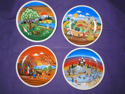 set of 4 NAIF style mini collector appetizer plates FOUR SEASONS W-Germany