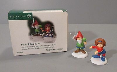 "Set of 2 Dept 56 Heritage Village North Pole Series ""Bustin' a Move"" Figurines"