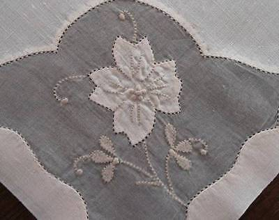 Vintage Madeira Linen Organdy Embroidered Dinner Napkins Ecru Applique Flower