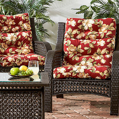 3-section Contemporary Outdoor Roma Floral High Back Chair Cushion (Set of 2)