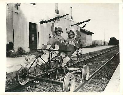 WWII U.S. Troops Riding on Foot-Propelled Railroad Vehicle in Sicily Press Photo