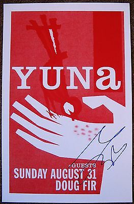 Signed YUNA (from Malaysia) Gig POSTER In-Person w/proof Autograph
