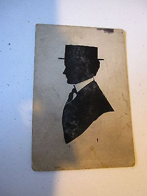 Antique Vintage Silhouette Picture Of Man With Hat On Stiff Card Stock