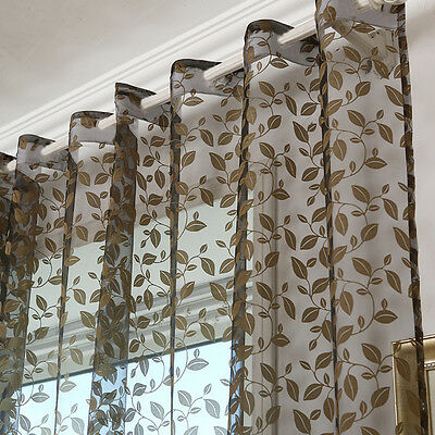 Black Leaves Tulle Voile Door Window Curtain Drape Panel Sheer Scarf Valances