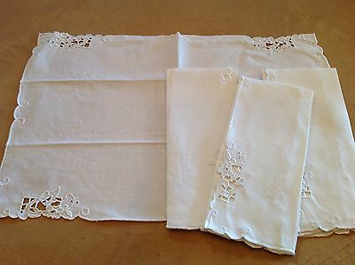 Four Vintage Placemats Or Tea Towels, Off White, Cut Work Floral Embroidery