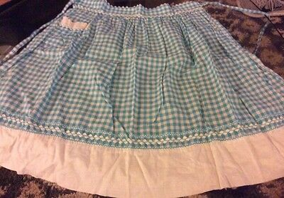 Fantastic Vintage Turquoise Mid Century Checkered Gingham Apron. Must See!