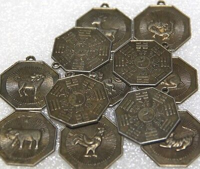 Feng Shui Astrology The 12 Zodiac Signs Set Of 12 Astrology Symbols Pendant Coin