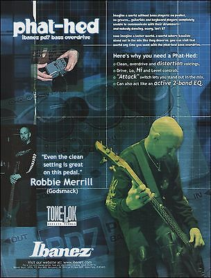Godsmack Robbie Merrill 2001 Ibanez Phat Hed PD7 Bass overdrive 8 x 11 ad print