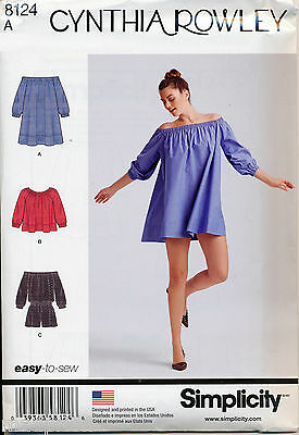 Simplicity Sewing Pattern 8124 Misses 6-24 Jumpsuit Off The Shoulder Mini Dress