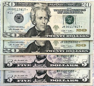 $50- $20,$5 Star Notes series 2009, 2013 Neat Low Serial numbers circulated