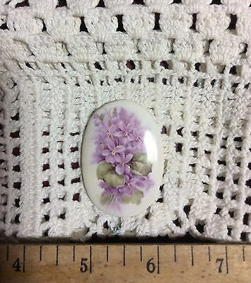 ~*PURPLE LILAC BOUQUET OVAL, Pendant or Mosaic Tile Handmade Pottery Kiln Fired