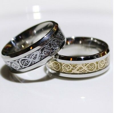 Fashion Unisex 8MM Band Titanium Steel Rings Gold Stainless Wedding Size 6-13