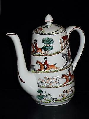 """Vintage Crown Staffordshire Hunting Scene 7.5"""" COFFEE POT Fox & Hounds"""