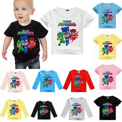 100% Cotton FULLY LICENSED PJ Mask Long SLEEVE T SHIRT TOP 3-8 Years