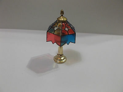 Miniature Doll House Table Lamp With Multi Colored  Shade Non Electric
