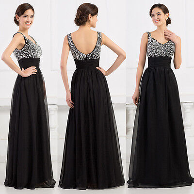 Bridesmaid Beaded Prom Ball Gown Evening Party Cocktail Long Dress Black Size 6