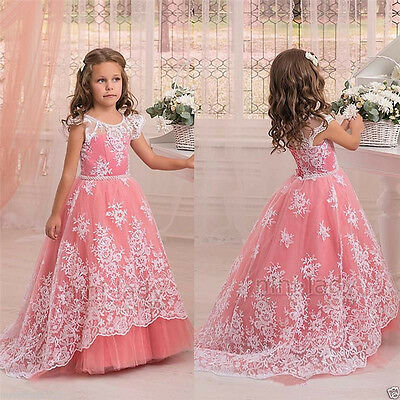 Coral Flower Girl Dress Communion Bridesmaid Party Prom Princess Pageant Age 2