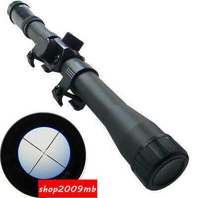 Hunting 4X20 Optic Sniper Scope Reticle Sight W/Mounts For .22 caliber Rifle