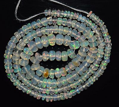 """16"""" Stunning Natural Ethiopian Welo Fire Opal Smooth Rondelle Beads EB1518"""