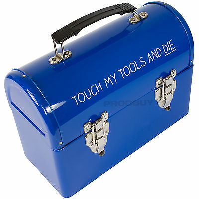 Retro Blue Metal Tin Tool Box Shape Touch My Tools & Die Lunch Box Storage Case