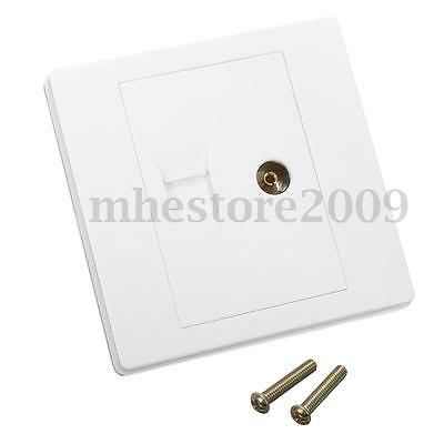 Network RJ45 Modular Socket + Coaxial TV Aerial Connector Wall Panel Faceplate