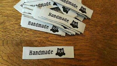 25 HANDMADE motif OWL white woven fabric labels clothing knitting sewing UK