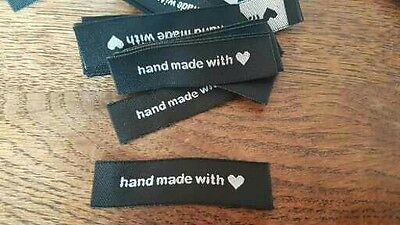 25 HANDMADE with love BLACK woven fabric labels clothing knitting sewing UK