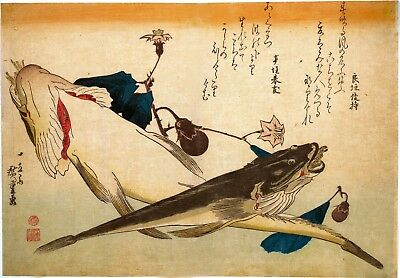 Repro Japanese Print by Utagawa Hiroshige 'Fish With Eggplant.....'
