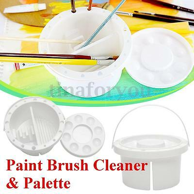 PP White Artist Paint Brush Cleaner Tub Holder Container Watercolor Oil Face Art
