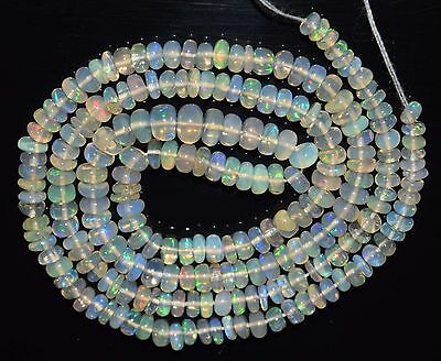 """16.5"""" Stunning Natural Ethiopian Welo Fire Opal Smooth Rondelle Beads EB1532"""