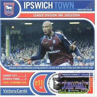IPSWICH TOWN 2003-04 Cardiff C.(Georges Santos) Football Stamp Victory Card #311