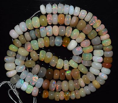 """17.5"""" Stunning Natural Ethiopian Welo Fire Opal Smooth Rondelle Beads EB1797"""