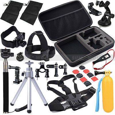 30in1 Pole Head Chest Mount Strap GoPro Hero 2 3 4 5 3+ 1 Camera Accessories Set
