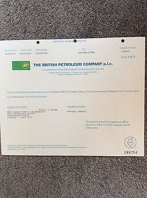 British Petroleum Co. Dated 1996 4 Shares Invalid Share Certificate