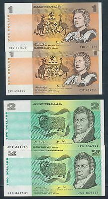 Australia: $1 & $2 Knight-Stone 2 of EACH NOTE UNC Cat $90