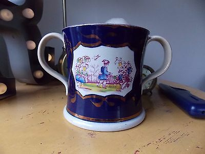 Antique Circa 1820 Staffordshire Loving Cup Chinese Oriental Theme.EX Condition.