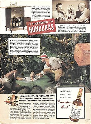 1941 Canadian Club Whisky It Happened In Honduras Ad