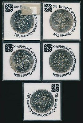 New Zealand: 1974 Commonwealth Games $1 Lot of 5 in Presentation Cases